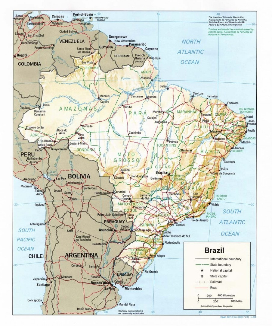 Mapa fizyczna Brazylii