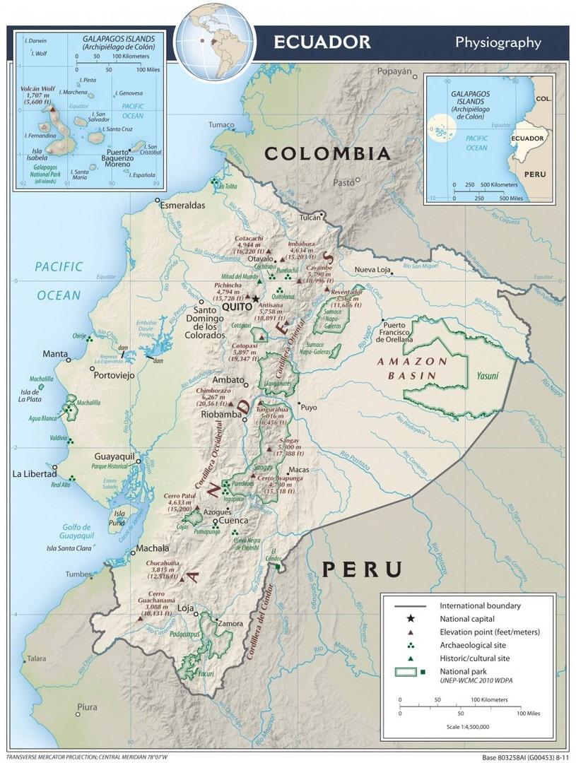 Mapa fizyczna Ekwadoru