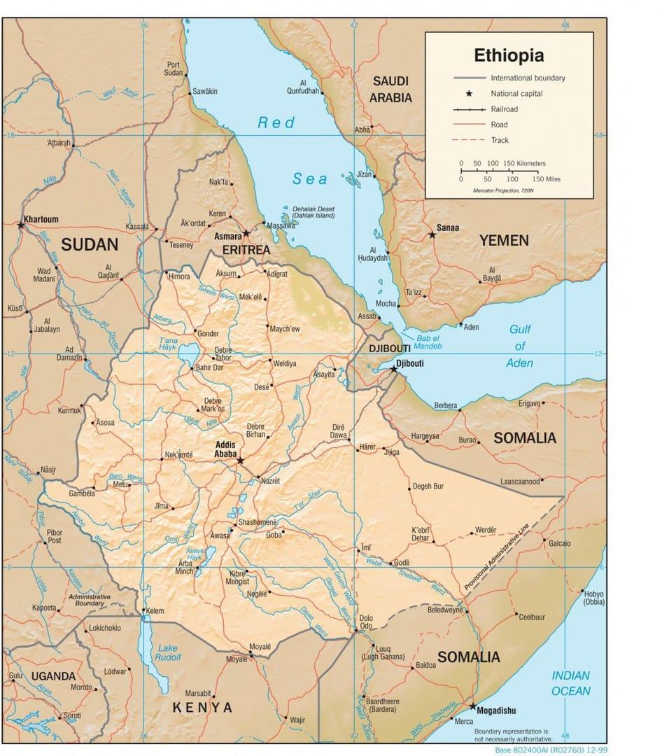 Mapa fizyczna Etiopii
