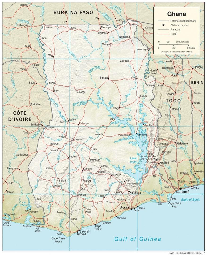 Mapa fizyczna Ghany