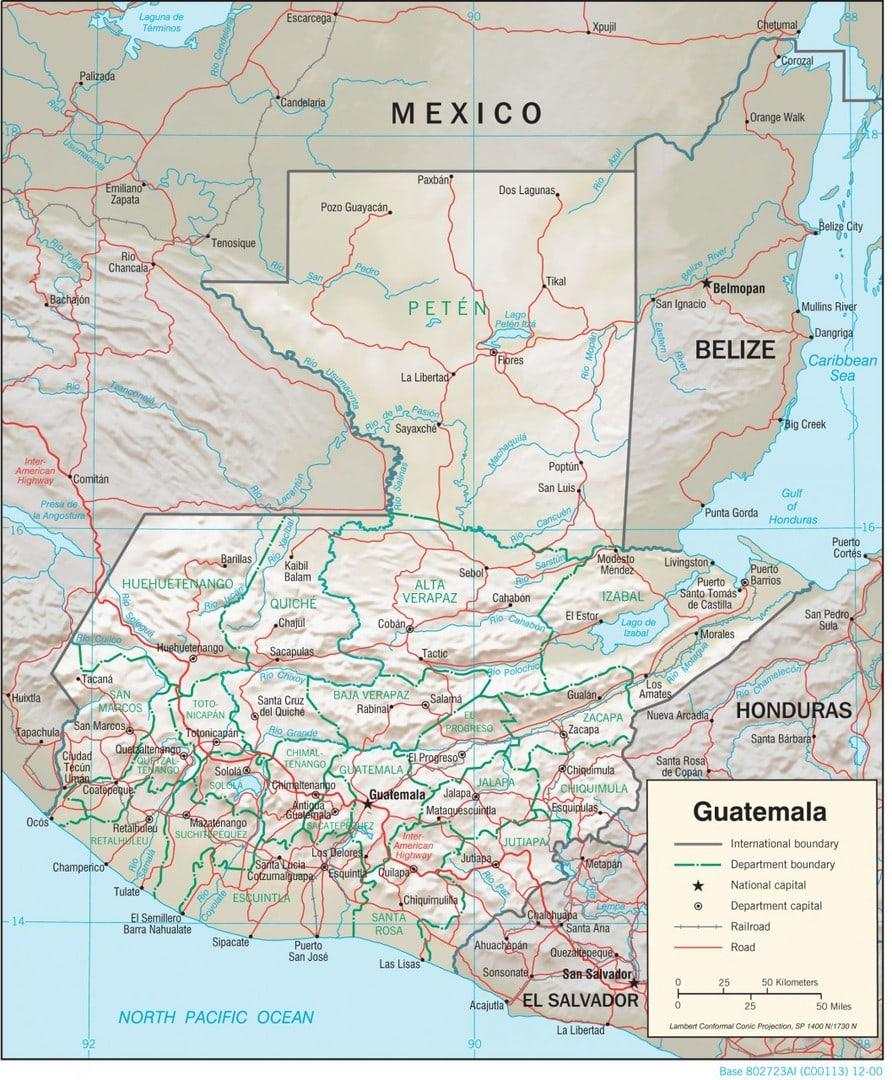 Mapa fizyczna Gwatemali