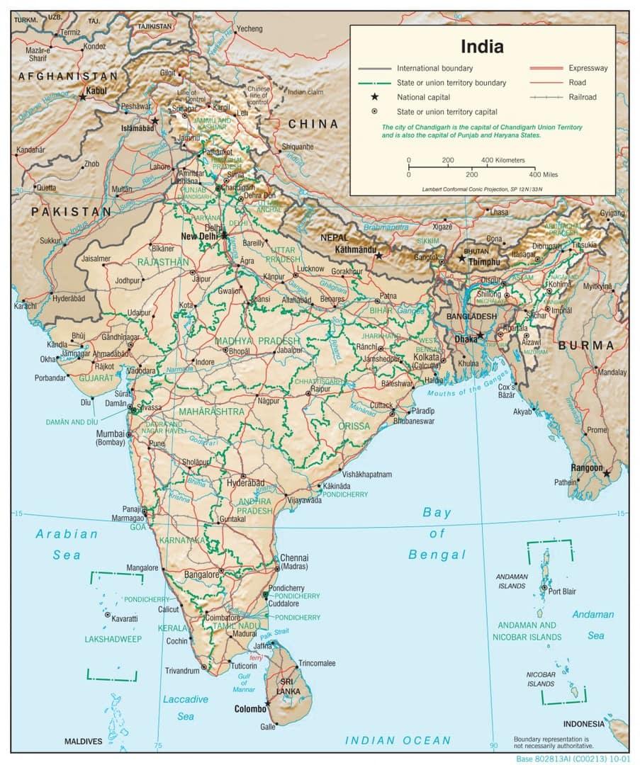 Mapa fizyczna Indii