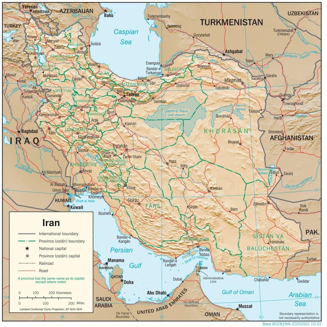 Mapa fizyczna Iranu
