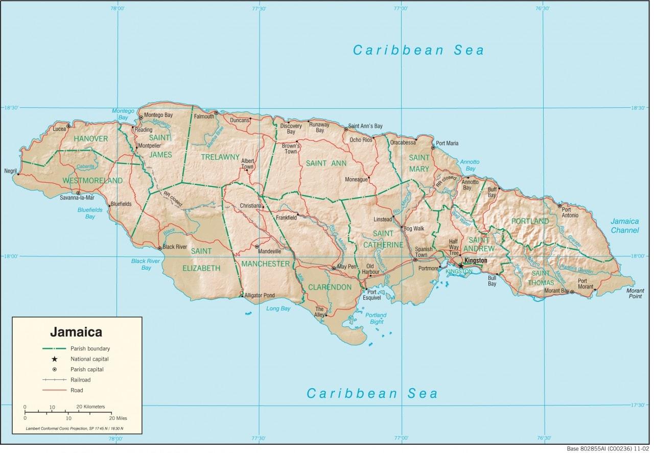 Mapa fizyczna Jamajki