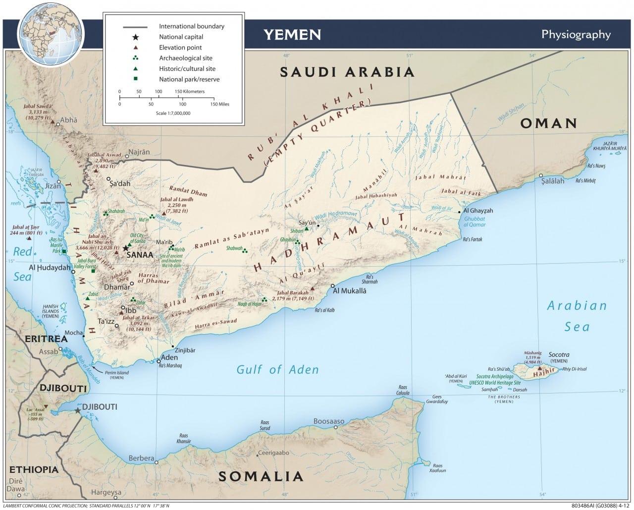 Mapa fizyczna Jemenu