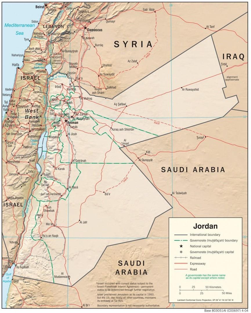 Mapa fizyczna Jordanii