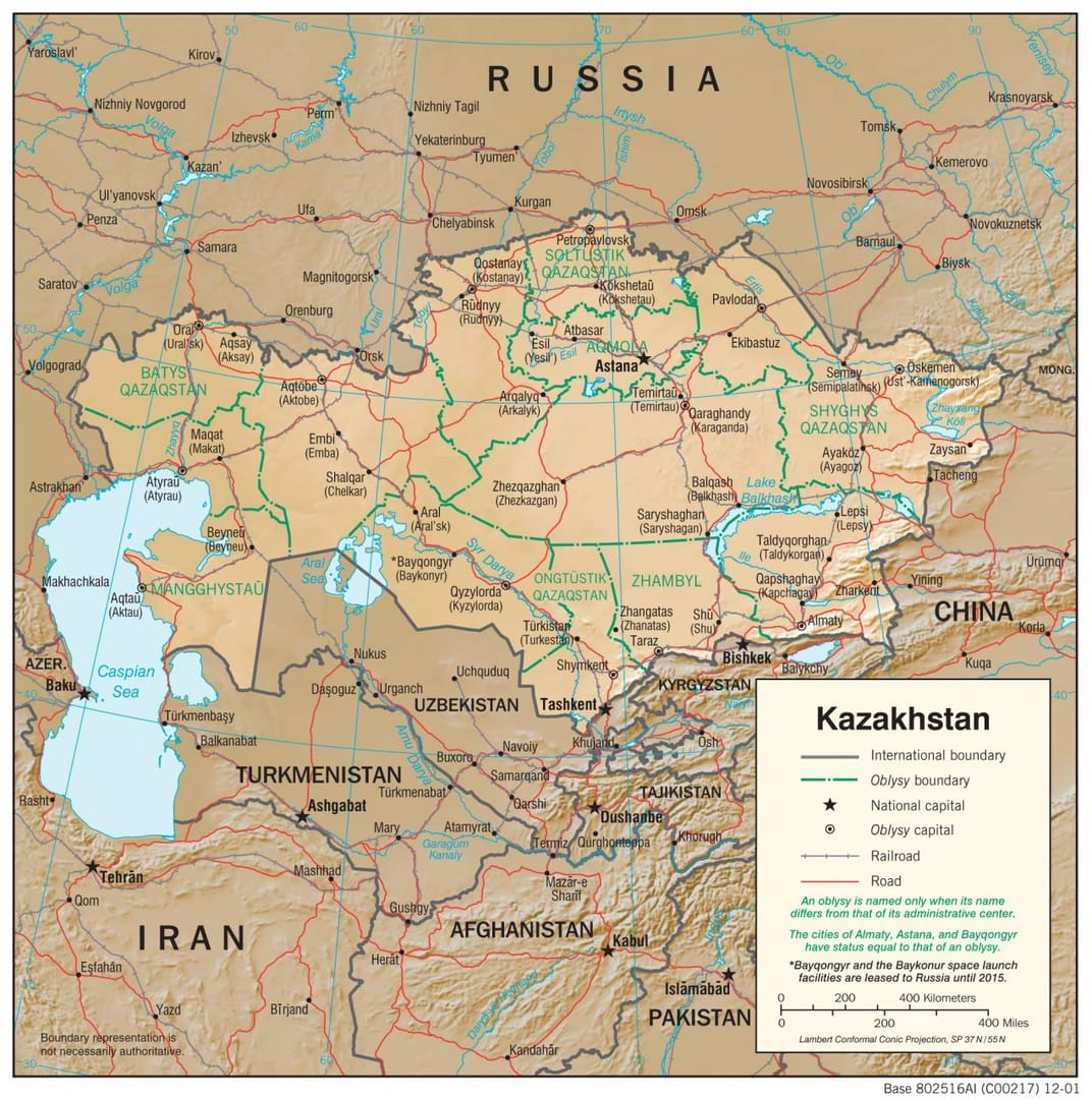 Mapa fizyczna Kazachstanu
