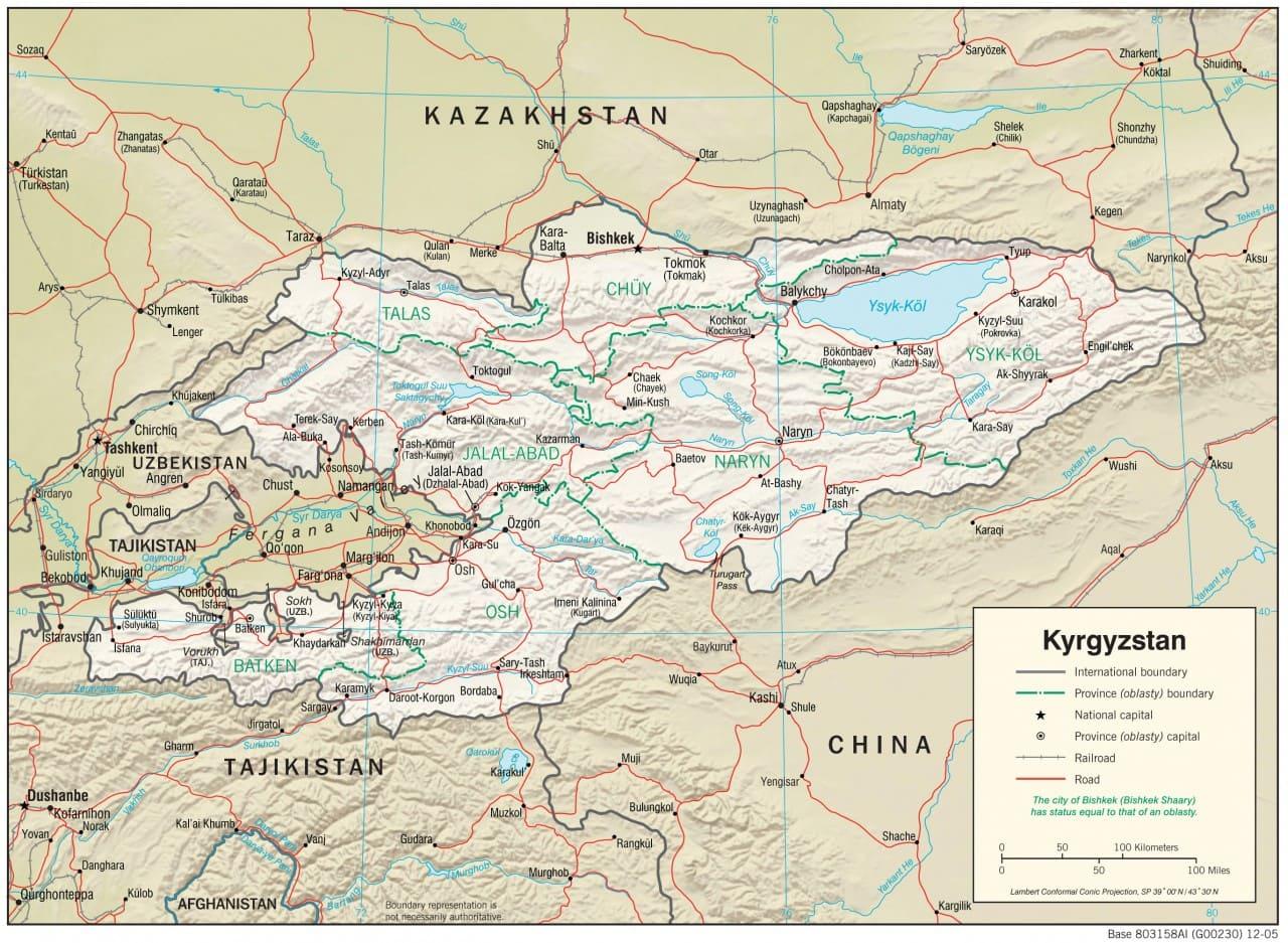 Mapa fizyczna Kirgistanu