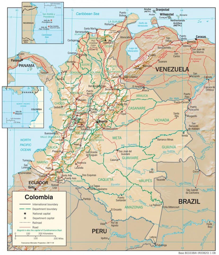 Mapa fizyczna Kolumbii