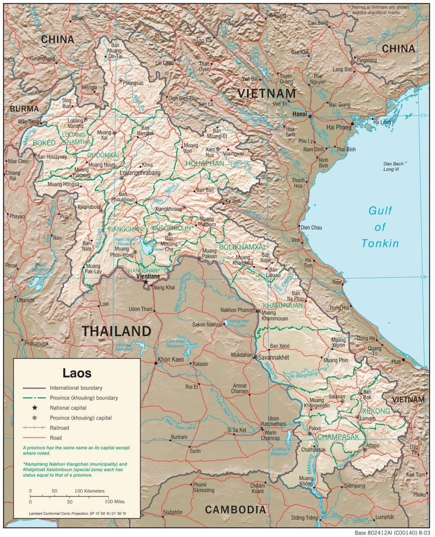 Mapa fizyczna Laosu
