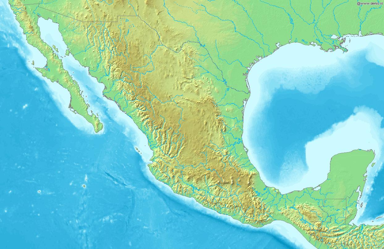 Mapa fizyczna Meksyku