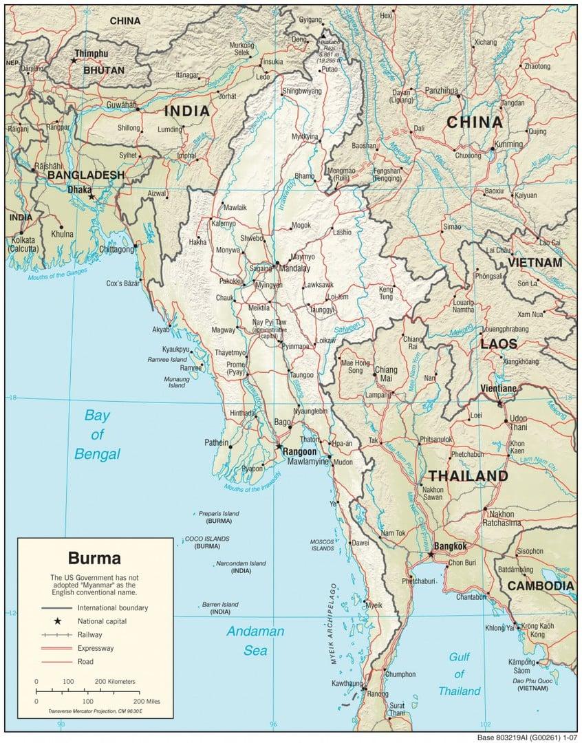 Mapa fizyczna Mjanmy