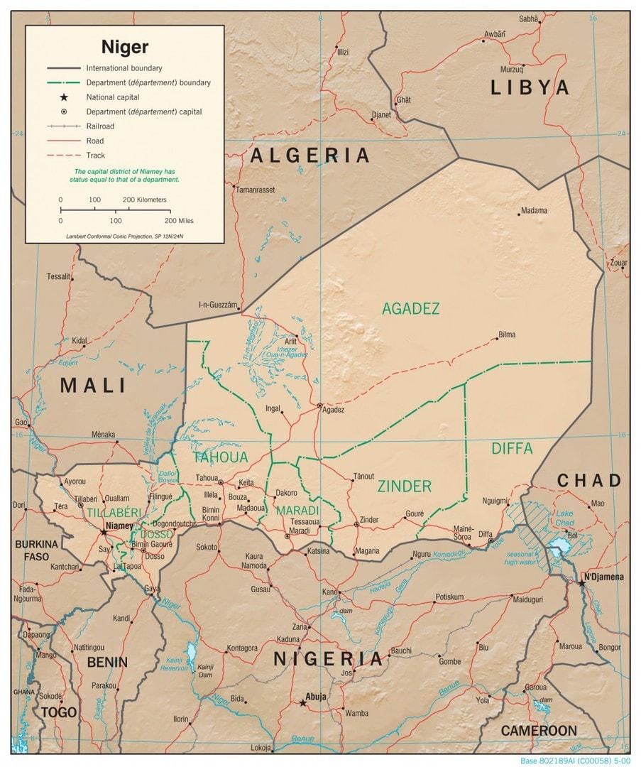 Mapa fizyczna Nigru