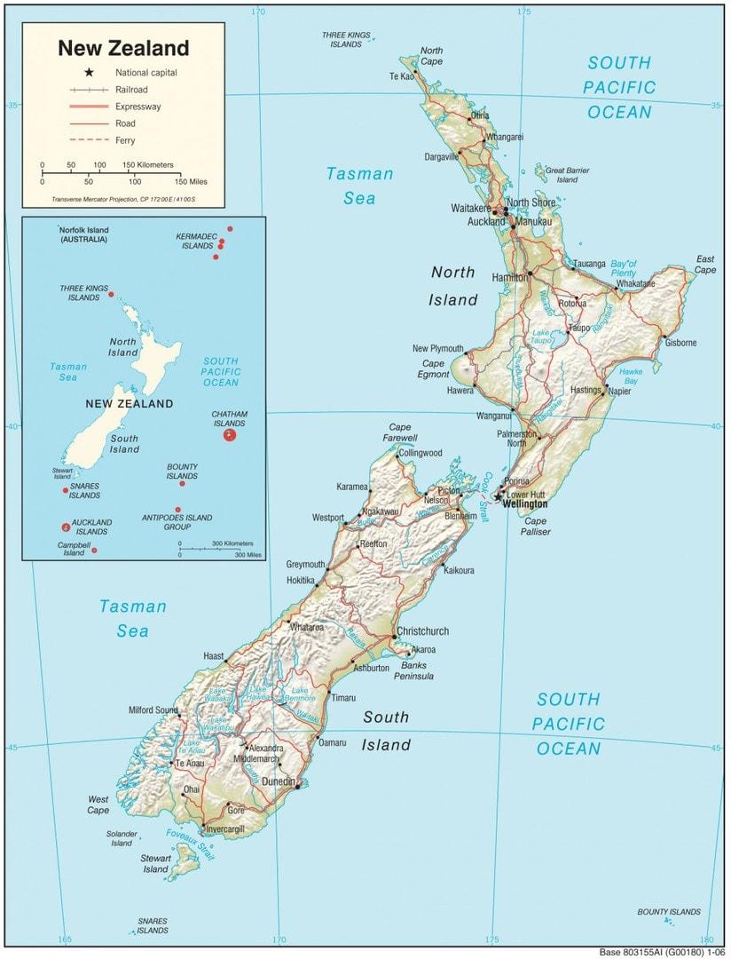 Mapa fizyczna Nowej Zelandii