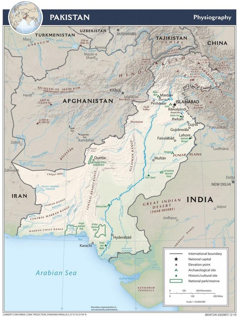 Mapa fizyczna Pakistanu