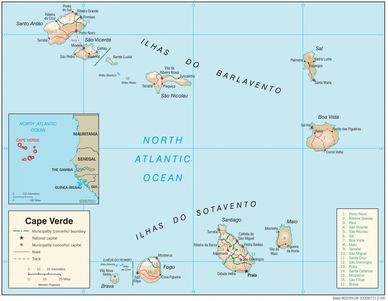 Mapa fizyczna Republiki Zielonego Przylądka