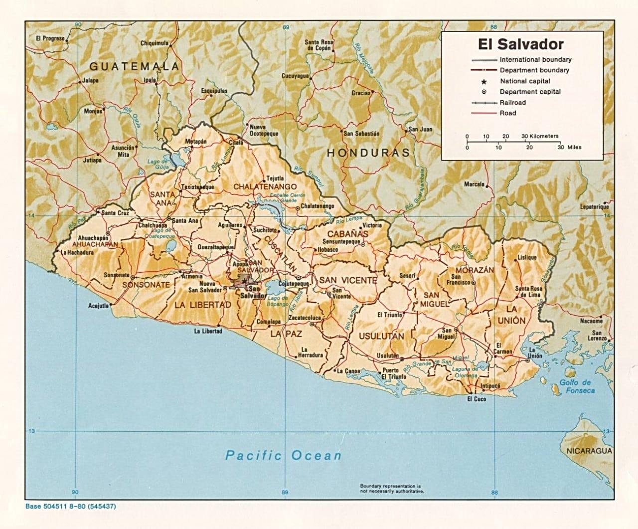 Mapa fizyczna Salwadoru