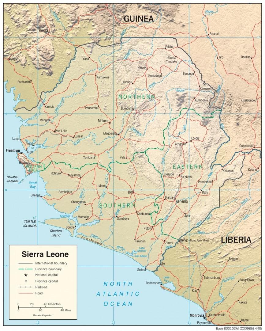 Mapa fizyczna Sierra Leone