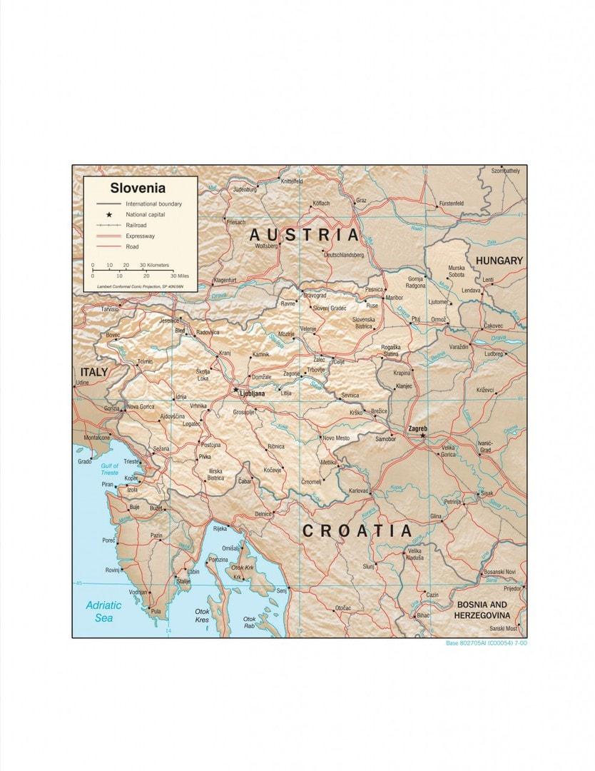 Mapa fizyczna Słowenii