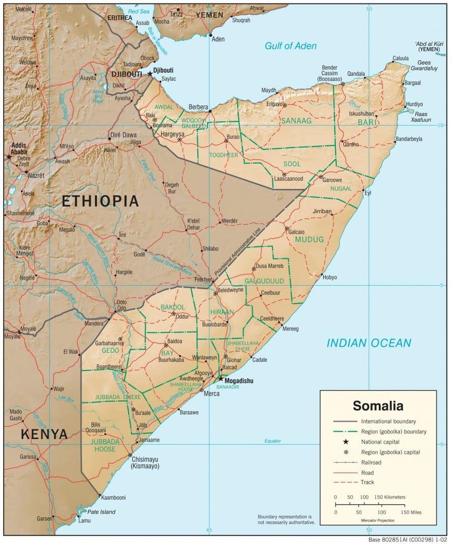 Mapa fizyczna Somalii