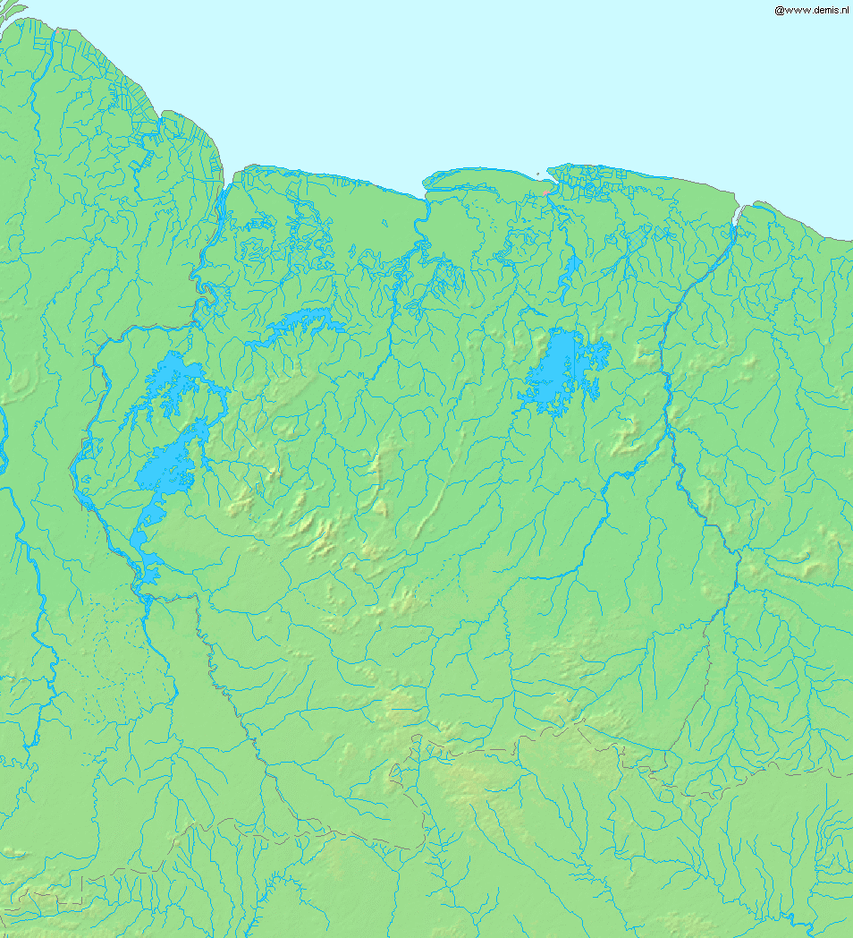 Mapa fizyczna Surinamu