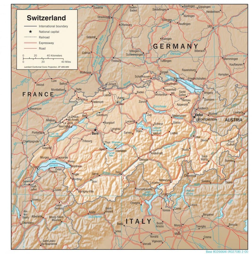 Mapa fizyczna Szwajcarii