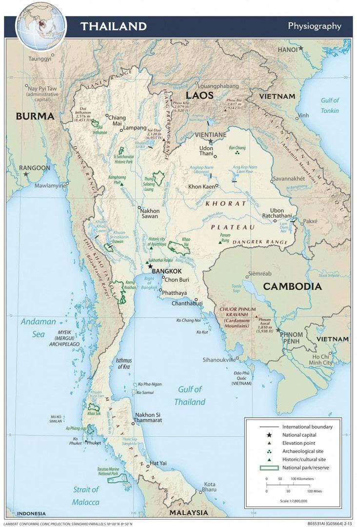 Mapa fizyczna Tajlandii