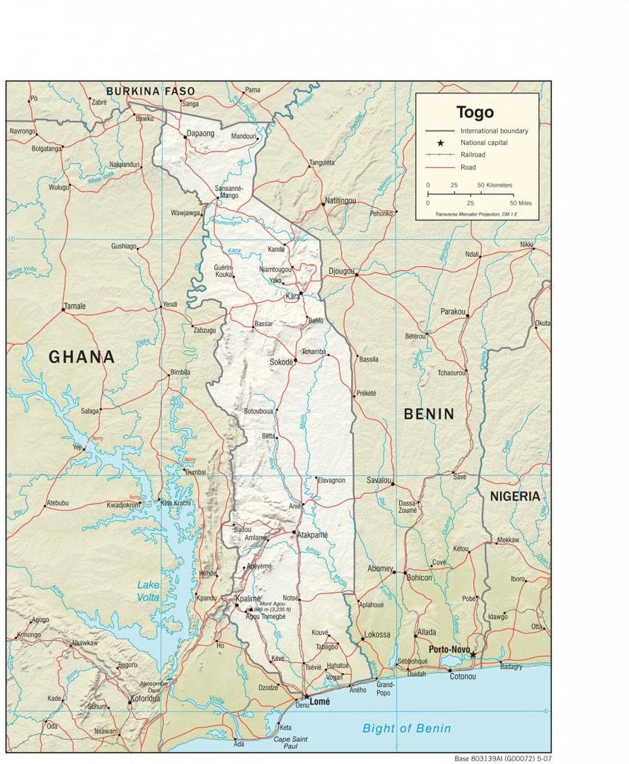 Mapa fizyczna Togo
