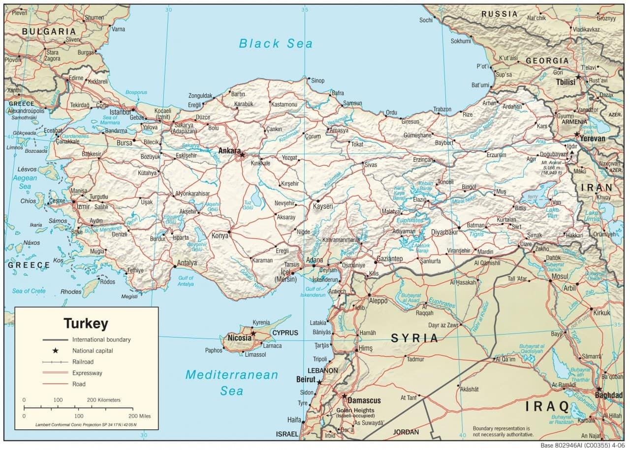 Turcja Mapa Mapy Turcji Travelin
