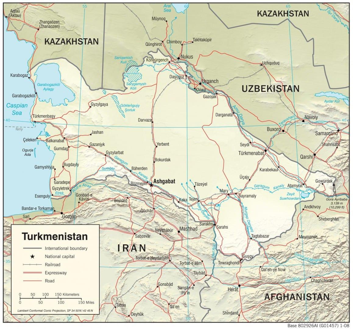 Mapa fizyczna Turkmenistanu