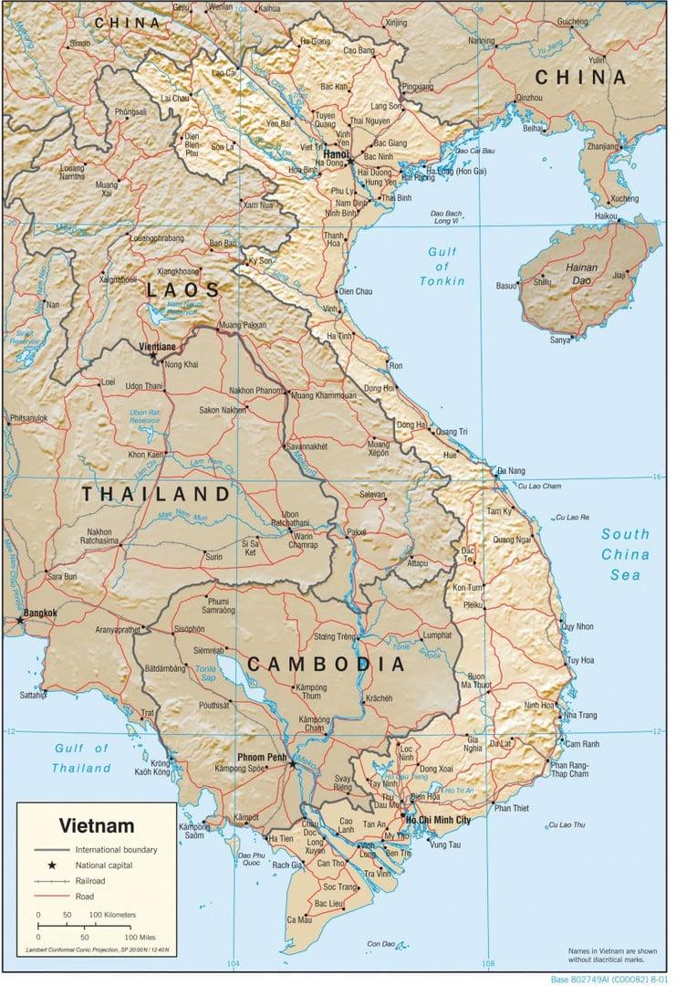 Mapa fizyczna Wietnamu