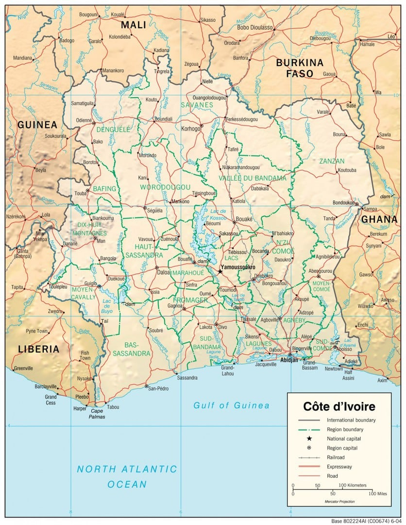 Mapa fizyczna Wybrzeża Kości Słoniowej