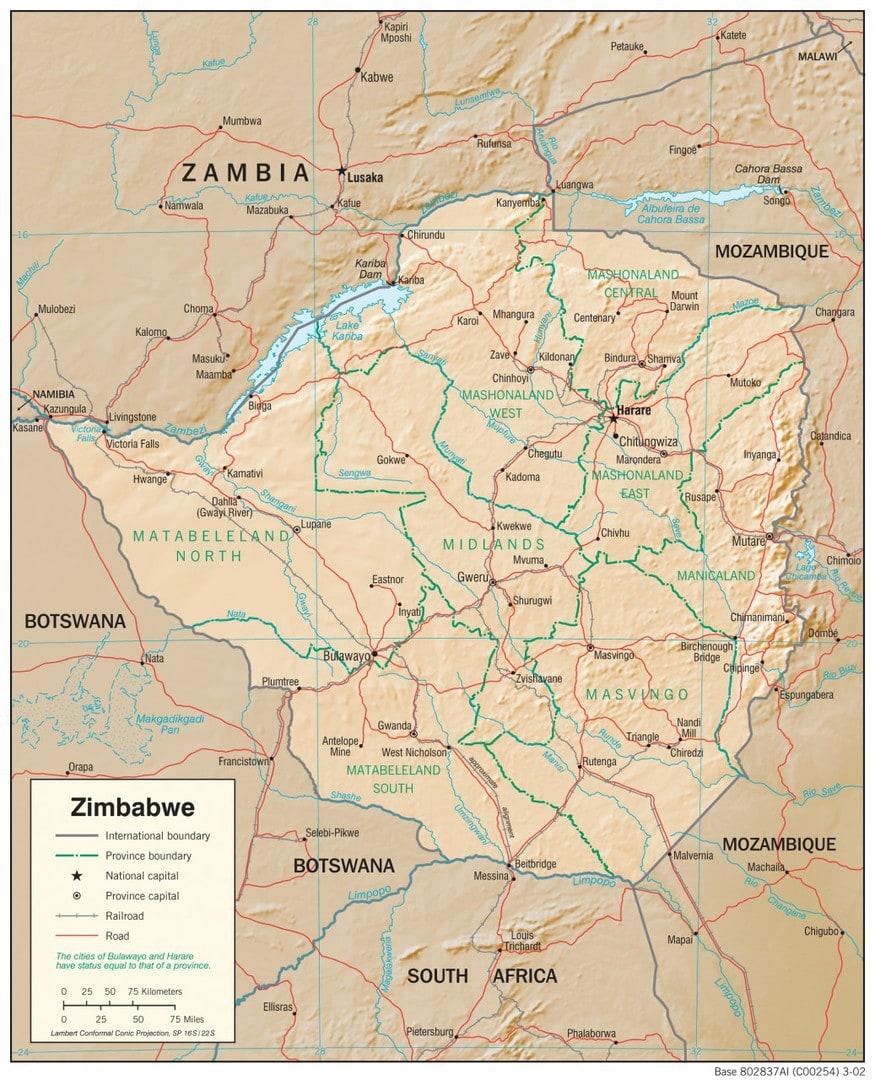 Mapa fizyczna Zimbabwe