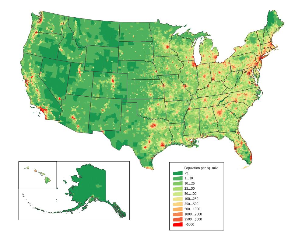 Mapa gęstości zaludnienia Stanów Zjednoczonych