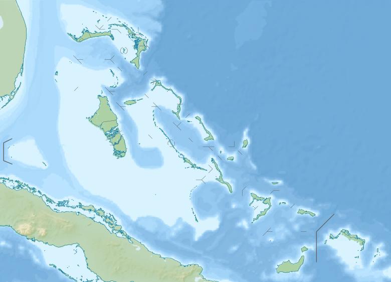 Mapa hipsometryczna Bahamów