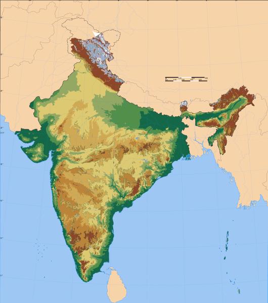 Mapa hipsometryczna Indii