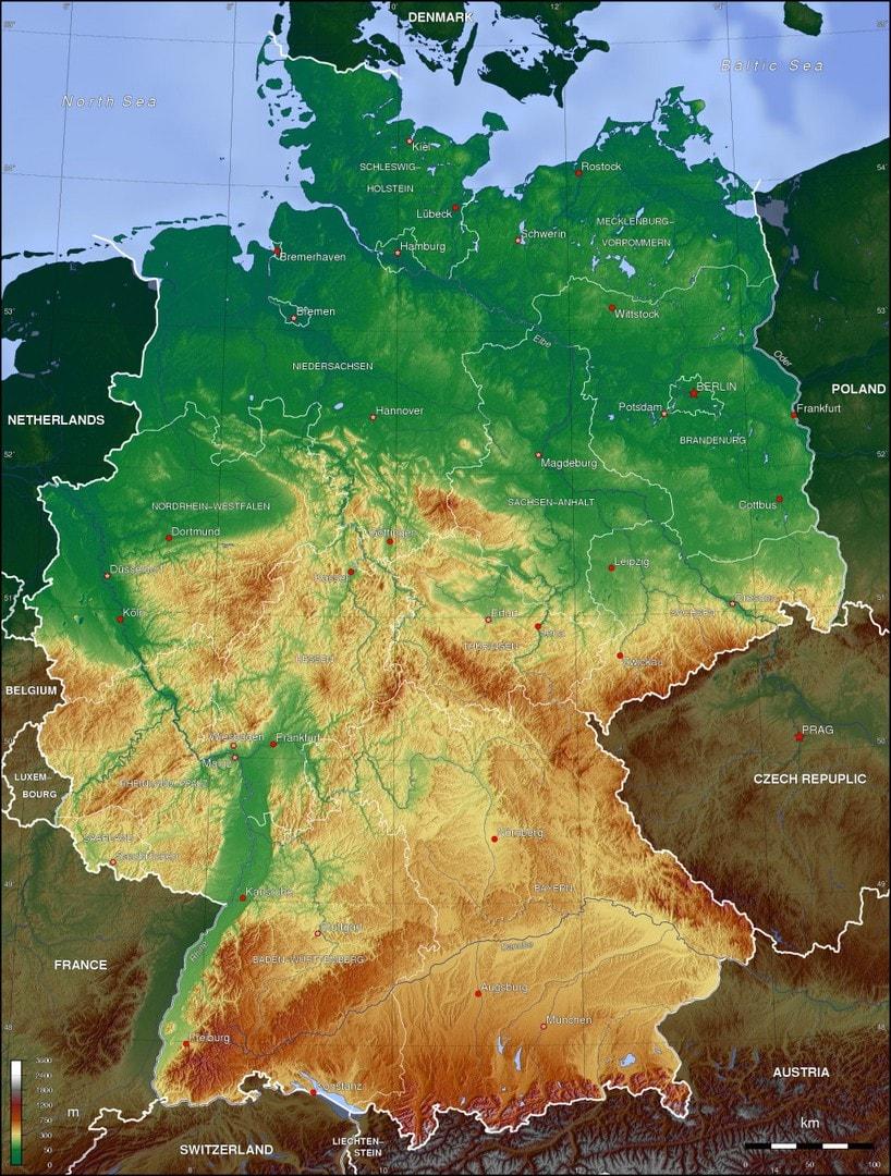 Mapa hipsometryczna Niemiec