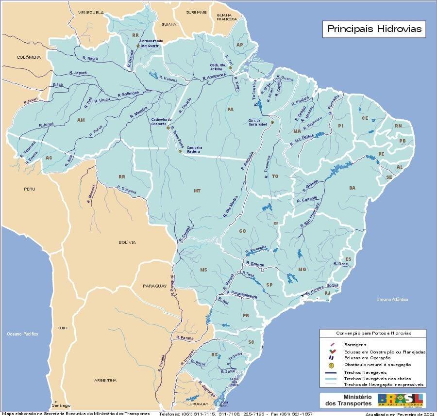Mapa hydrograficzna Brazylii