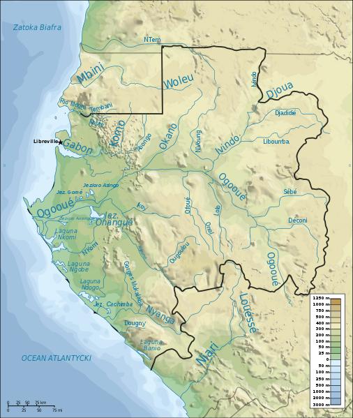 Mapa hydrograficzna Gabonu