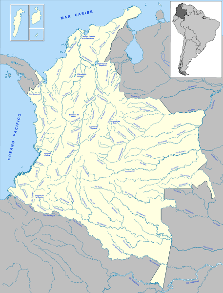 Mapa hydrograficzna Kolumbii