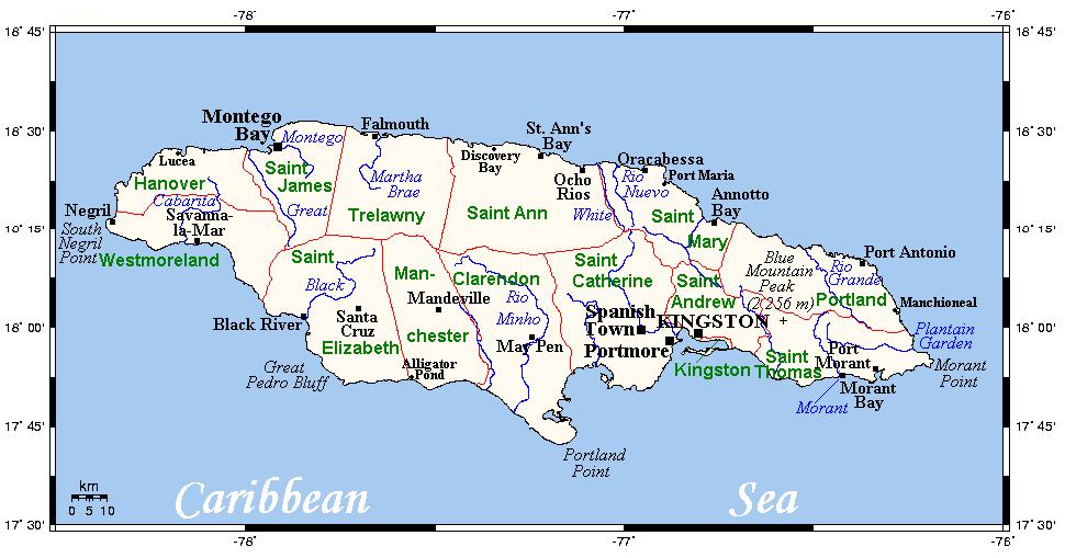 Mapa Jamajki