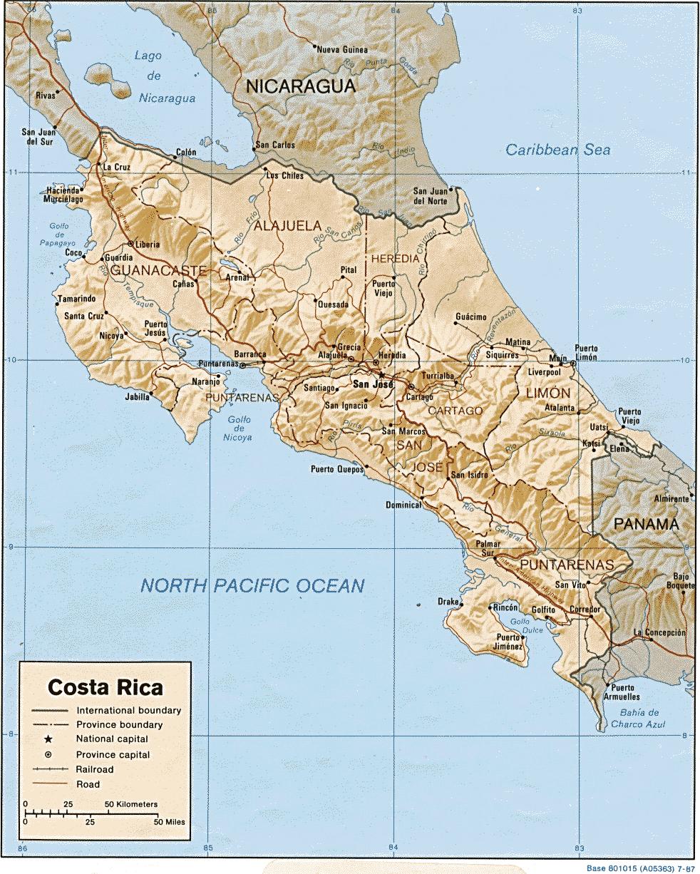 Mapa Kostaryki