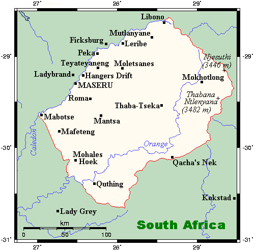 Mapa Lesotho