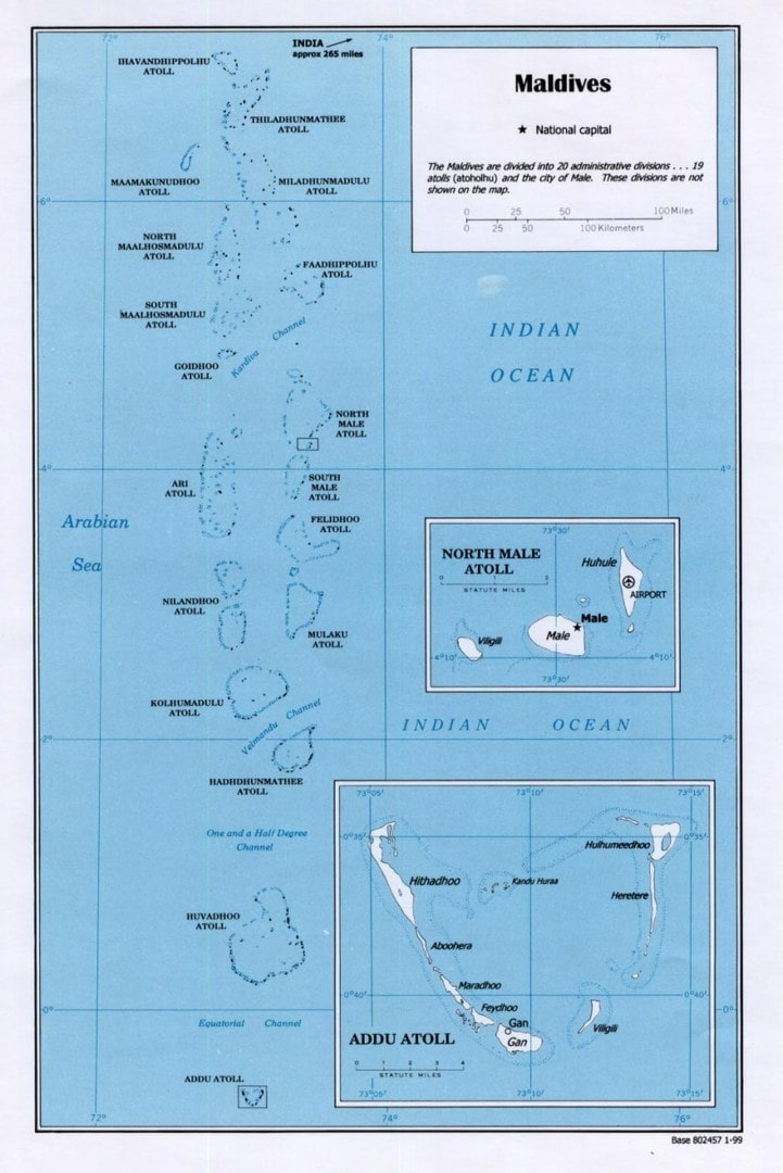 Mapa Malediwów