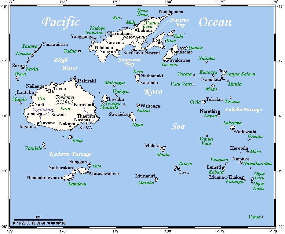 Mapa miast Fidżi