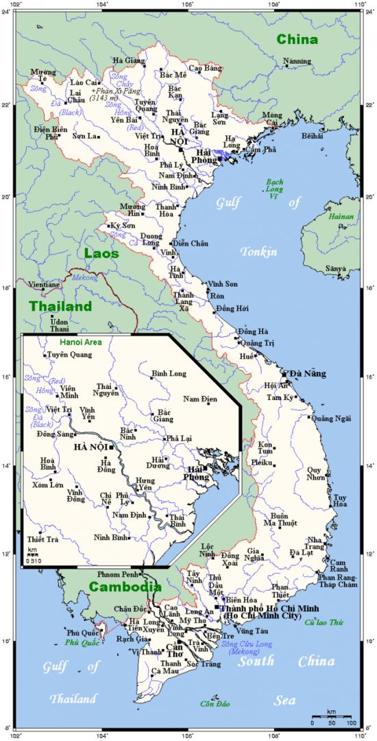 Mapa miast i miasteczek w Wietnamie