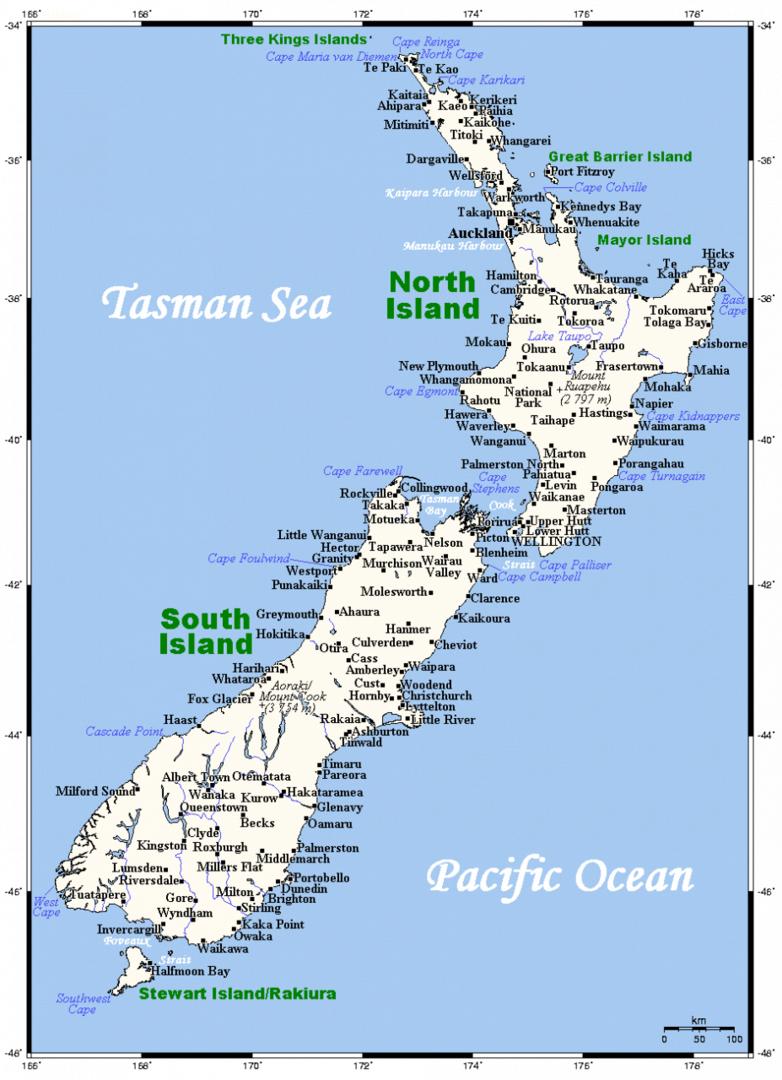 Mapa miast Nowej Zelandii