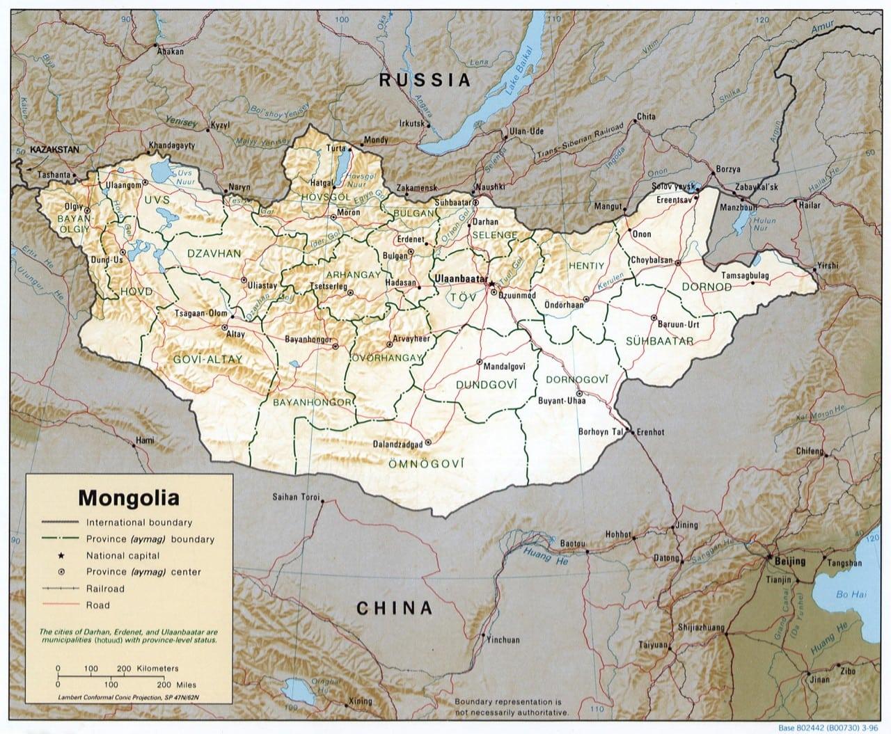 Mapa Mongolii