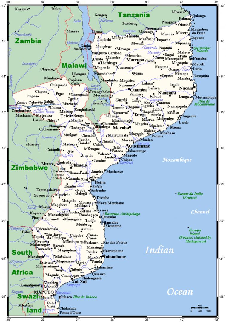 Mapa Mozambiku