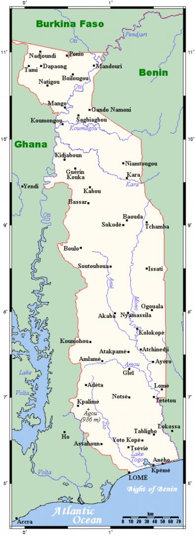 Mapa największych miast Togo